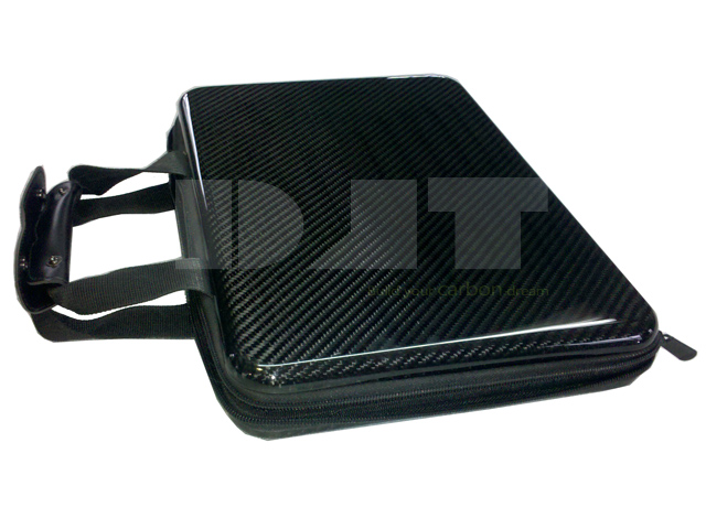 Carbon fiber laptop case with hand strap